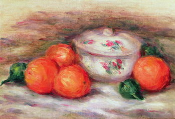 Still life with a covered dish and Oranges Billede på lærred