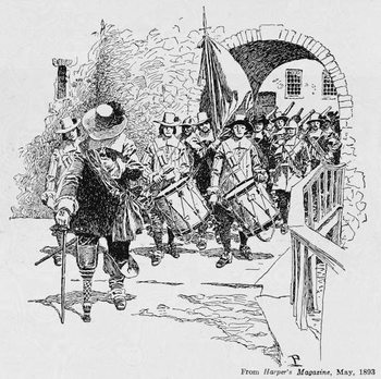 Stuyvesant Surrendering Fort Amsterdam to the English, from Harper's Magazine, 1893 Billede på lærred