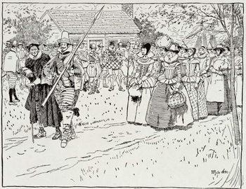 The Arrival of the Young Women at Jamestown, 1621, from Harper's Magazine, 1883 Billede på lærred