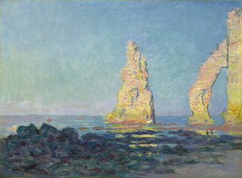 The Needle of Etretat, Low Tide; Aiguille d'Etretat, maree basse, 1883 Billede på lærred