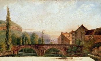 The Pont de Nahin at Ornans, c.1837 Billede på lærred