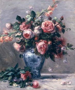Vase of Roses Billede på lærred