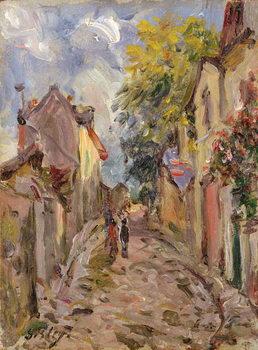 Village Street Scene Billede på lærred