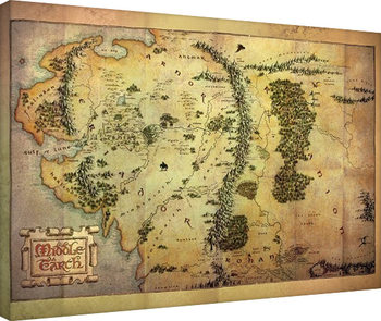 Hobbitten - Middle Earth Map Billede på lærred