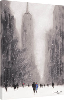 Jon Barker - Heavy Snowfall, 5th Avenue, New York Billede på lærred