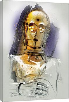 Star Wars: The Last Jedi -C-3PO Brushstroke Billede på lærred