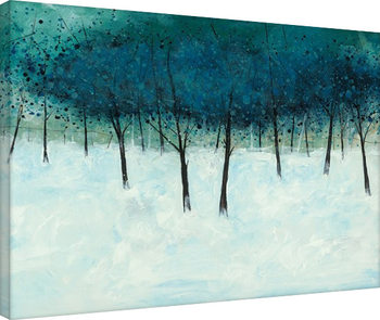 Stuart Roy - Blue Trees on White Billede på lærred