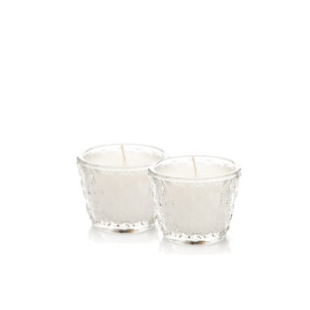 Candle in Glass - Vanilla, While 6 cm, set of 2 pcs Lakberendezés