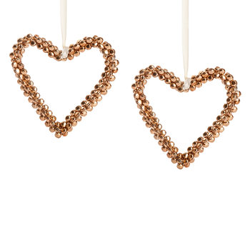 Heart with Gold Bells, 15 cm, set of 2 pcs Lakberendezés