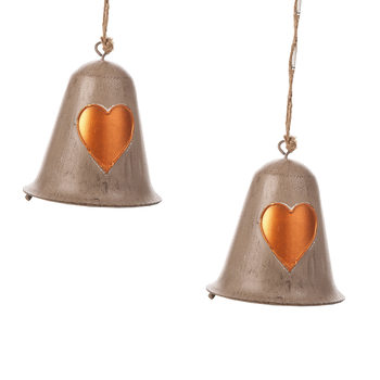 Metal Bell Bronze Heart, 10 cm, set of 2 pcs Lakberendezés
