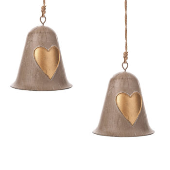 Metal Bell Gold Heart, 10 cm, set of 2 pcs Lakberendezés
