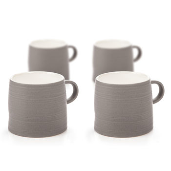 Mug Grainy Texture, 350 ml Dark Gray, set of 4 pcs Lakberendezés