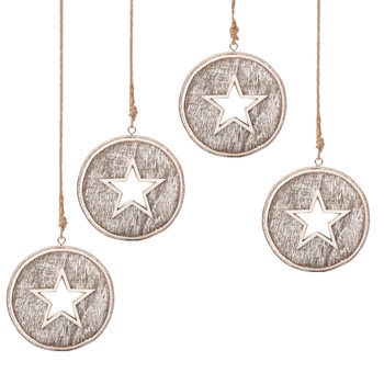Wooden Christmas Decoration Star Faded Paint, 8 cm, set of 4 pcs Lakberendezés