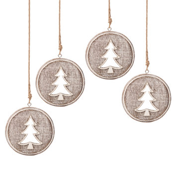 Wooden Christmas Decoration Tree Faded Paint, 8 cm, set of 4 pcs Lakberendezés