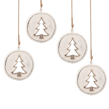 Wooden Christmas Decoration Tree White, 8 cm, set of 4 pcs Lakberendezés