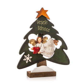 Wooden Christmas Tree with Flying Angel and Heart, 22 cm Lakberendezés