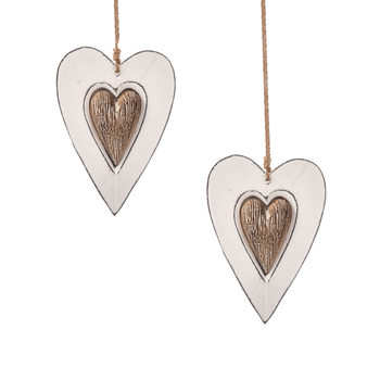 Wooden Heart Decoration Double Hanger, 12 cm, set of 2 pcs Lakberendezés