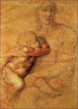 Reproducción de arte  Michelangelo - Madonna Col Bambino
