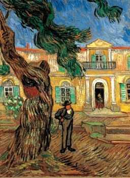 Reproducción de arte Pine Trees with Figure in the Garden of Saint-Paul Hospital, 1889
