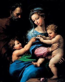 Lámina Raphael Sanzio - Madonna of the Rose - Madonna della rosa, 1520