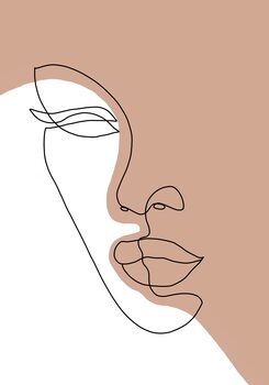 Leinwand Poster Abstract lady line art