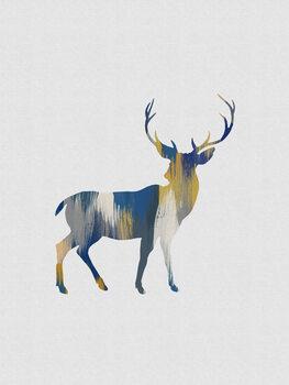 Leinwand Poster Blue & Yellow Deer