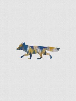 Leinwand Poster Blue & Yellow Fox