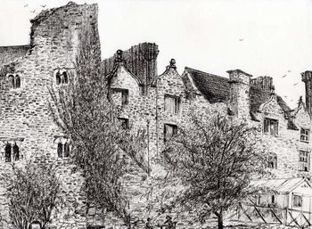 Leinwand Poster Castle ruin Hay on Wye, 2007,