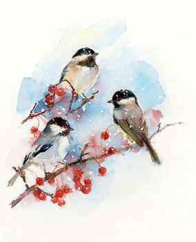 Leinwand Poster Chickadees with Berries, 2017,