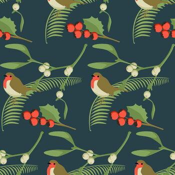 Leinwand Poster Christmas Robin