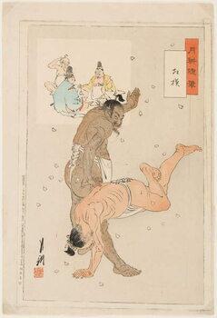 Leinwand Poster Combat de lutteurs de sumo. Estampe de Ogata Gekko