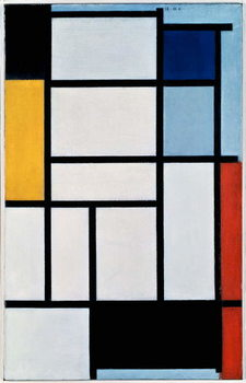 Leinwand Poster Composition with red, black, yellow, blue and grey, 1921, by Piet Mondrian , oil on canvas. Netherlands, 20th century.