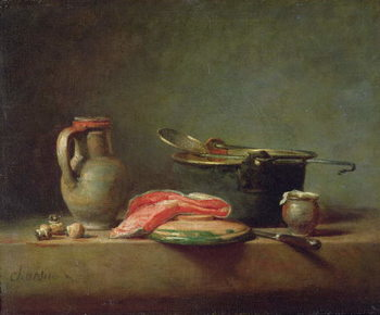 Leinwand Poster Copper Cauldron with a Pitcher and a Slice of Salmon