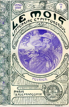 Leinwand Poster Cover of the magazine (monthly magazine) Le Month litteraire et picturesque by Alphonse Mucha : month of February 1899 - Maison de la Bonne Presse -