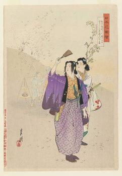 Leinwand Poster Dandies Admire Falling Cherry Blossoms