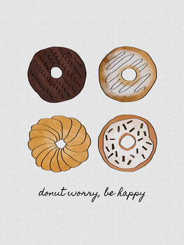 Leinwand Poster Donut Worry Be Happy