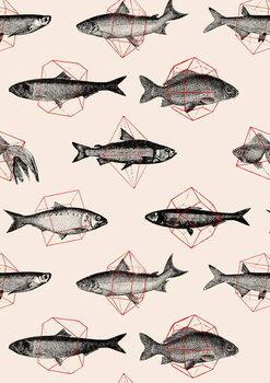 Leinwand Poster Fishes in Geometrics