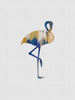 Leinwand Poster Flamingo Blue & Yellow