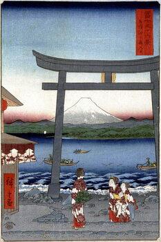 Leinwand Poster Geishas and Mount Fuji