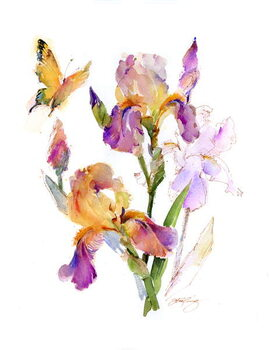 Leinwand Poster Iris with yellow butterfly, 2016,