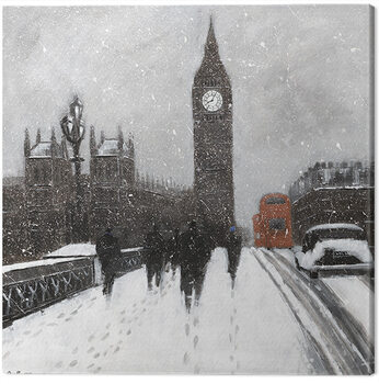 Leinwand Poster Jon Barker - Snow Men, Westminster Bridgeq