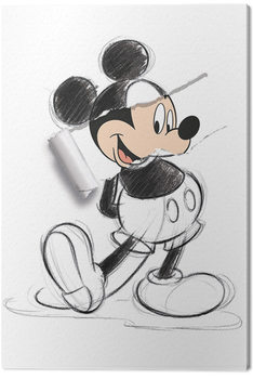 Leinwand Poster Micky Maus (Mickey Mouse) - Torn Sketch