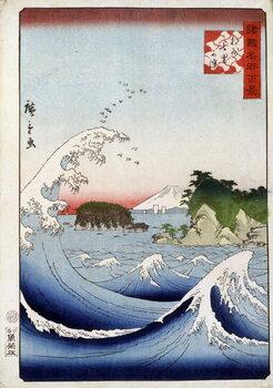 Leinwand Poster Mount Fuji behind the restless sea