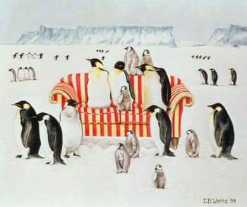 Leinwand Poster Penguins on a red and white sofa, 1994
