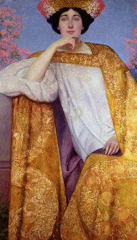 Leinwand Poster Portrait of a Woman in a Golden Dress
