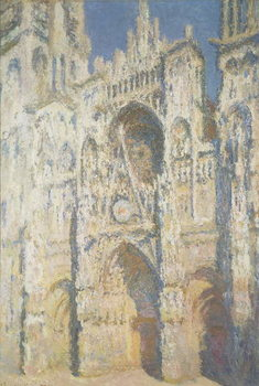 Leinwand Poster Rouen Cathedral in Full Sunlight: Harmony in Blue and Gold
