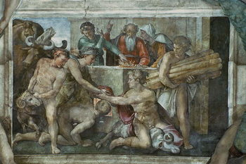 Leinwand Poster Sistine Chapel Ceiling: Noah After the Flood