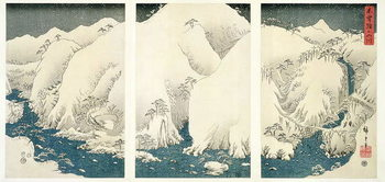 Leinwand Poster Snow storm in the mountains and rivers of Kiso,