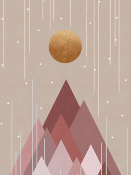 Leinwand Poster Sun & Mountains Coral Pink