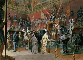 Leinwand Poster The first Armoury Room of the Ambraser Gallery in the Lower Belvedere, 1875